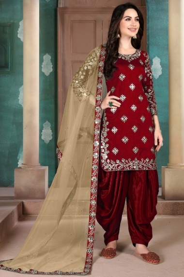 Maroon Art Silk Mirror Worked Straight Cut Patiala Suit with Embroidery