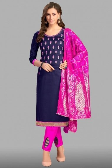 Navy Blue Cotton Floral Embroidered Straight Cut Suit