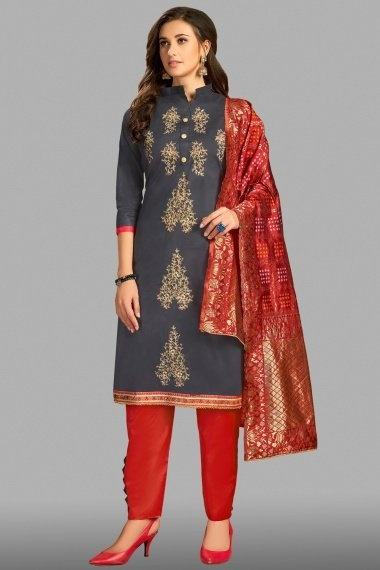 Grey Cotton Straight Cut Suit with Embroidery