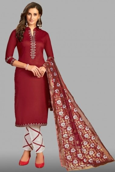 Maroon Cotton Embroidered Straight Cut Suit
