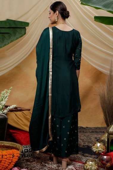Bottle Green Chinon Straight Cut Palazzo Suit with Embroidery