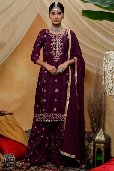 Purple Chinon Straight Cut Palazzo Suit with Embroidery