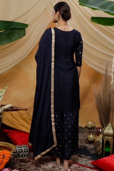 Navy Blue Chinon Straight Cut Embroidered Palazzo Suit