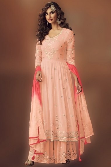 Peach Georgette Thread Embroidered Anarkali Palazzo Suit