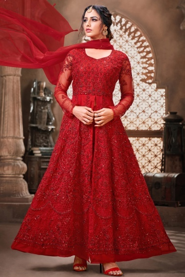 Red Net Thread Embroidered Slit Cut Suit