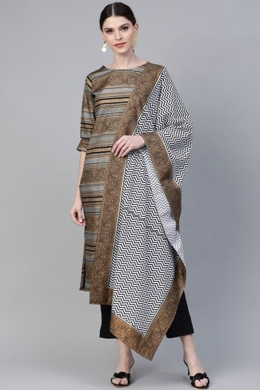 Grey and Golden Crepe Straight Cut Suit with Zigzag Print Dupatta