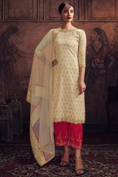 Off White Jacquard Zari Embroidered Straight Cut Suit