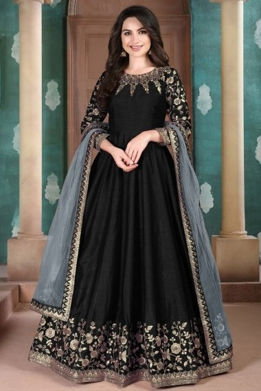 Black Art Silk Anarkali Suit with Embroidery