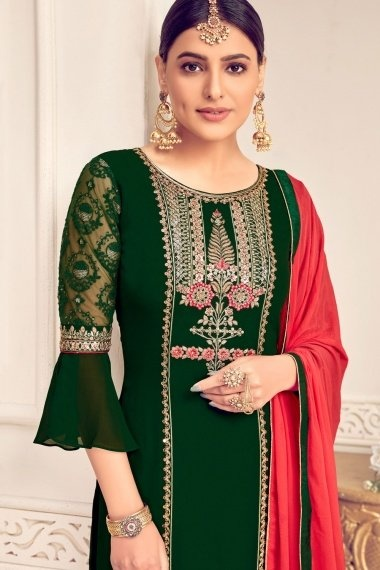 Bottle Green Georgette Viscose Embroidered Palazzo Suit with Bell Sleeves