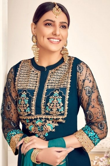 Peacock Blue Georgette Viscose Embroidered Palazzo Suit