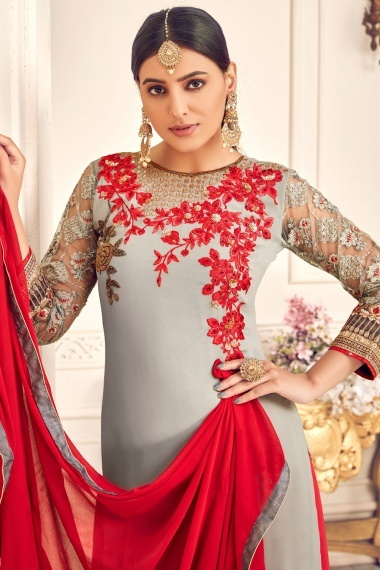 Grey Georgette Viscose Embroidered Palazzo Suit