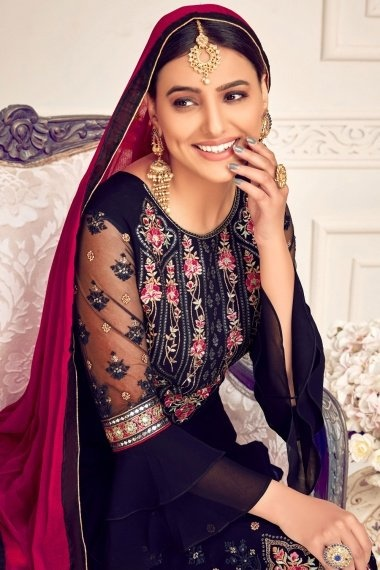 Dark Navy Blue Georgette Viscose Embroidered Palazzo Suit with Layered Bell Sleeves
