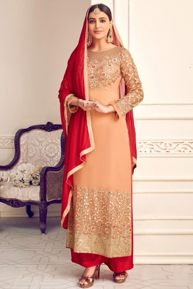 Peach Georgette Viscose Embroidered Palazzo Suit with Mirror Work