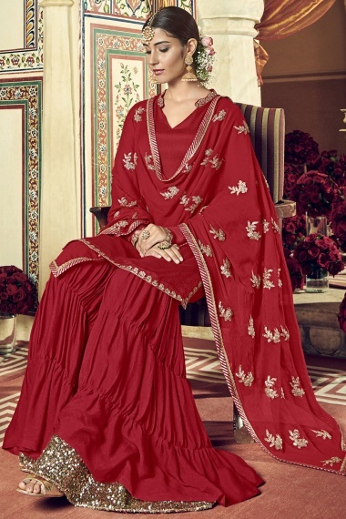 Red Georgette Handworked Neck Suit with Sharara