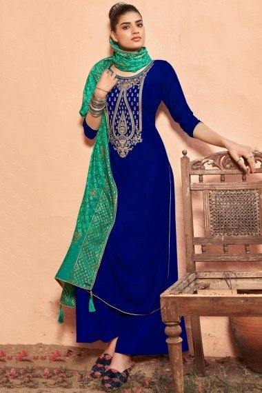 Royal Blue Velvet Embroidered Palazoo Suit with Bandhej Print Dupatta