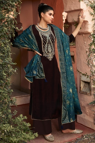 Brown Velvet Embroidered Palazoo Suit with Bandhej Print Dupatta