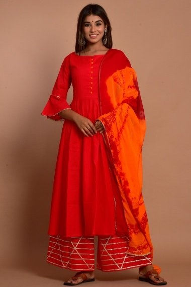 Red Cotton Plain Anarkali Suit with Gota Patti Worked Palazzo
