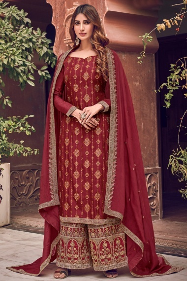 Maroon Jacquard All Over Embroidered Straight Cut Palazzo Suit