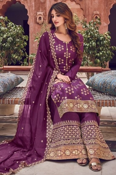 Purple Jacquard Straight Cut Embroidered Palazzo Suit