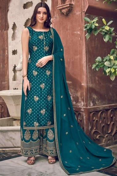Teal Blue Jacquard Straight Cut Embroidered Palazzo Suit