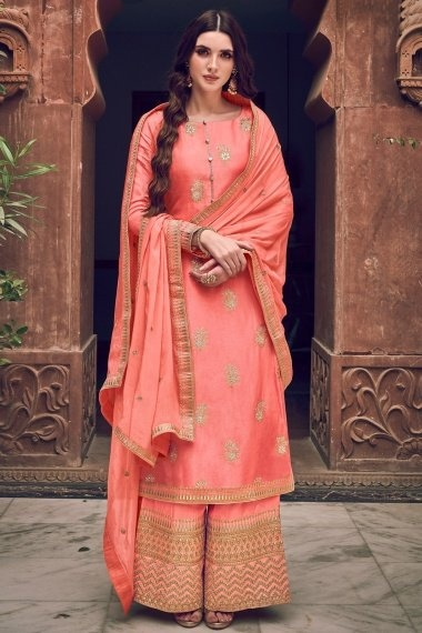 Peach Jacquard Straight Cut Embroidered Palazzo Suit