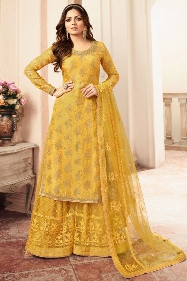 Drashti Dhami Mustard Jacquard Silk Straight Cut Palazzo Suit with Embroidery and Stone