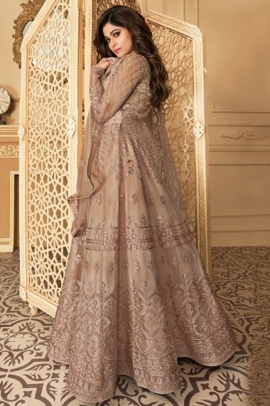 Shamita Shetty Taupe Net Designer Embroidered Flared Anarkali Suit with Sequins Work