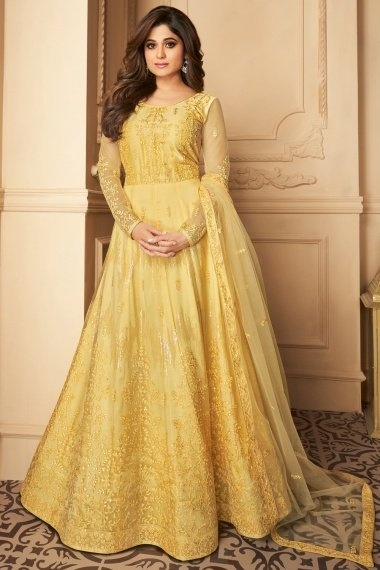 Shamita Shetty Yellow Net Designer Embroidered Flared Anarkali Suit with Sequins Work