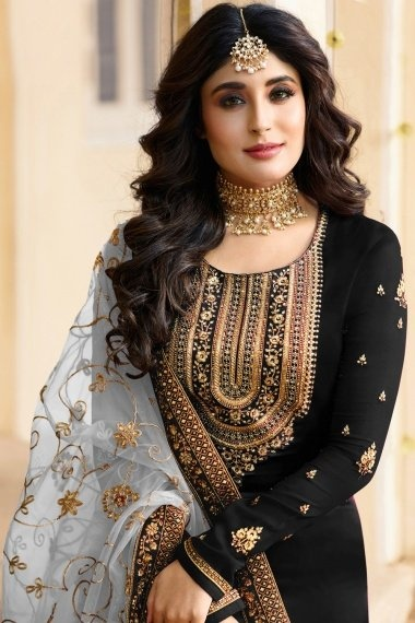 Kritika Kamra Black Satin Georgette Straight Cut Suit with Embroidery