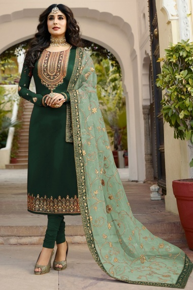 Kritika Kamra Green Satin Georgette Straight Cut Suit with Embroidery