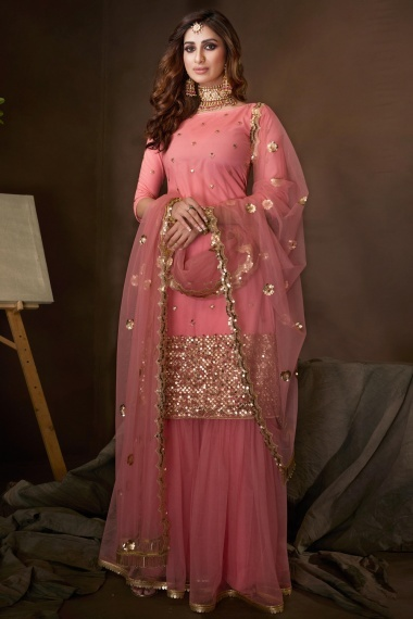 Pink Net Straight Cut Sharara Suit with Sequins Work