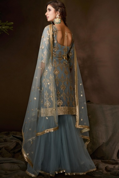 Pastel Blue Net Straight Cut Sharara Suit with Sequins Work