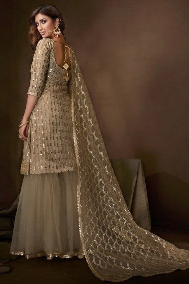 Taupe Net Sequins Worked Straight Cut Sharara Suit