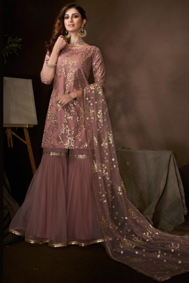 Mauve Net Straight Cut Sequins Worked Sharara Suit