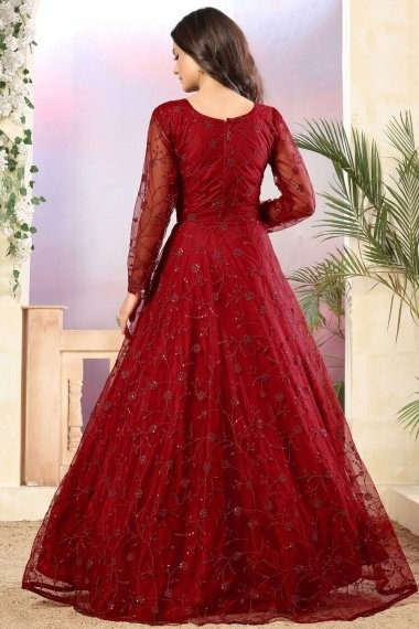 Red Net Embroidered Anarkali Suit