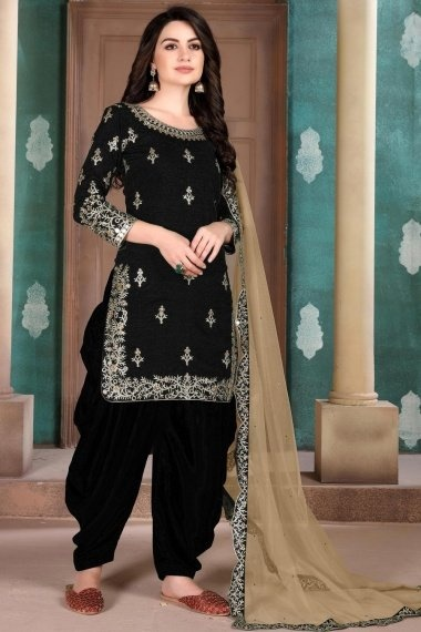 Black Art Silk Straight Cut Embroidered Suit with Mirror Work