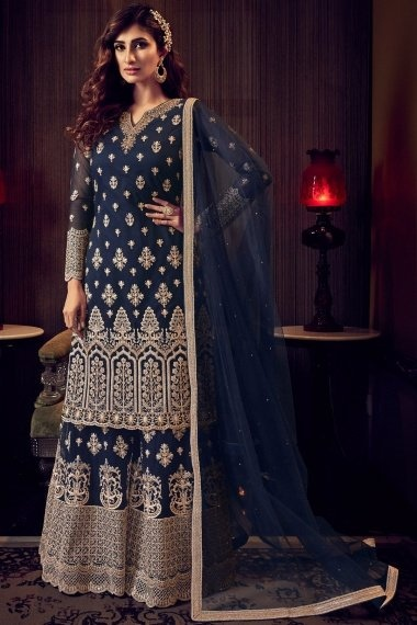 Blue Net Embroidered Designer Palazzo Suit with Stone Work