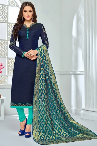 Navy Blue Chanderi Cotton Embroidered Straight Cut Suit