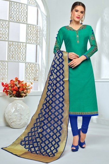 Teal Green Chanderi Cotton Embroidered Straight Cut Suit