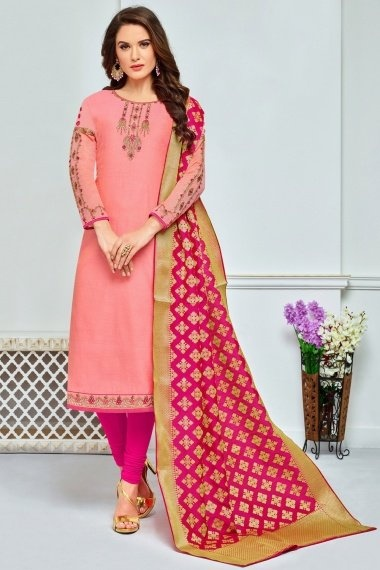 Pink Chanderi Cotton Embroidered Straight Cut Suit