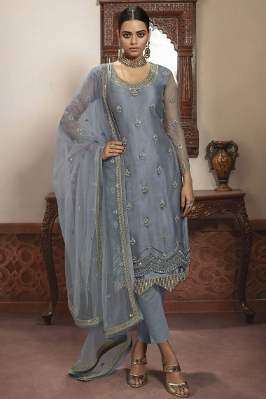 Grey Net Straight Cut Suit with Embroidery