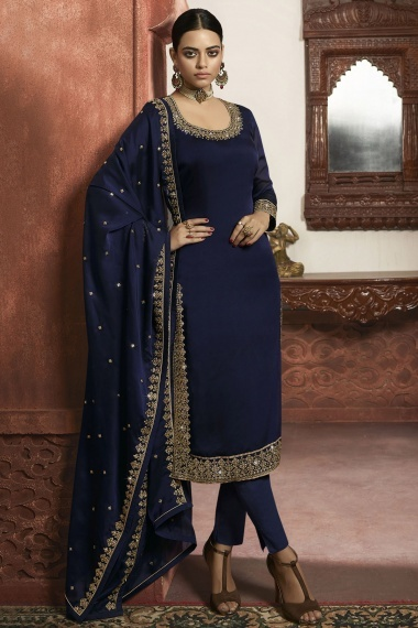 Navy Blue Georgette Straight Cut Suit with Embroidery