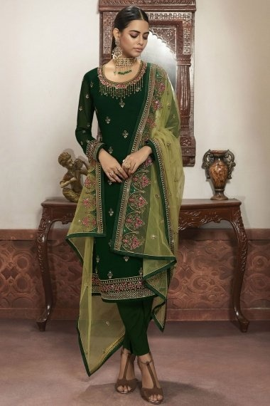 Green Georgette Straight Cut Embroidered Suit