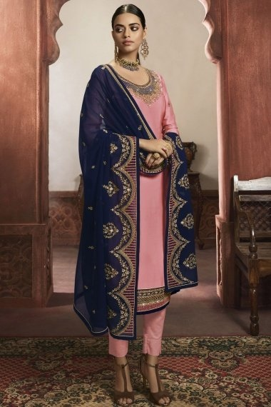 Pink Georgette Straight Cut Suit with Embroidery