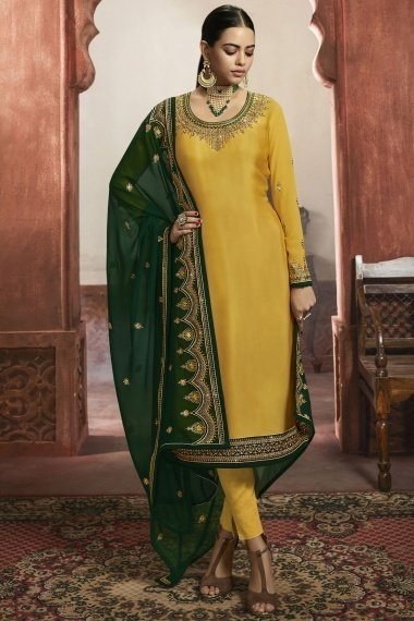 Mustard Georgette Embroidered Straight Cut Suit