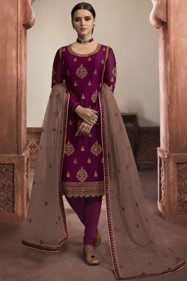 Purple Georgette Straight Cut Embroidered Suit