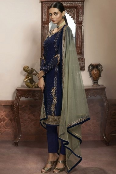 Navy Blue Georgette Embroidered Straight Cut Suit with Stone