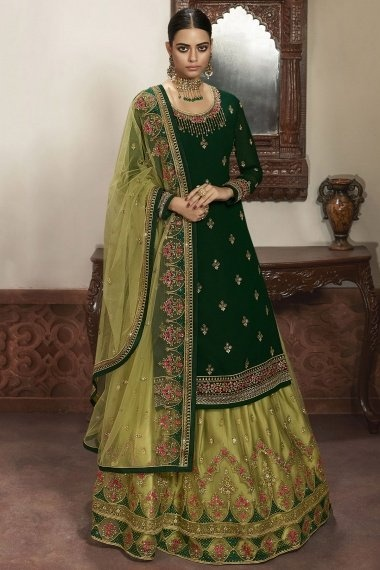 Green Georgette Embroidered Straight Cut Lehenga Suit