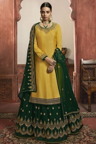 Mustard Georgette Straight Cut Lehenga Suit with Embroidery
