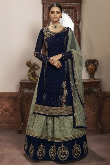 Navy Blue Georgette Straight Cut Embroidered Lehenga Suit with Stone